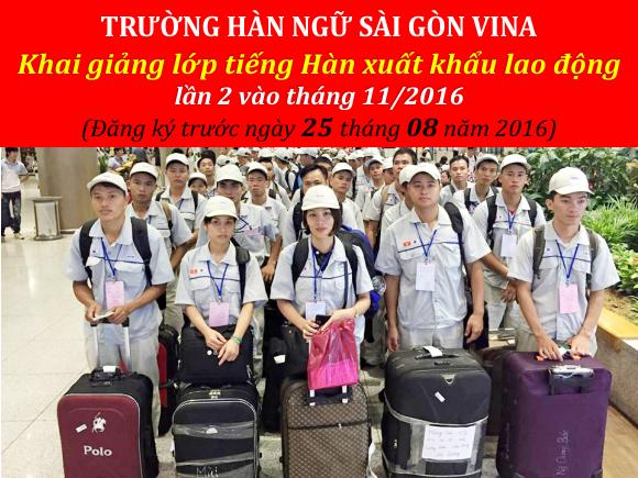 khai giang lop tieng han xuat khau lao dong vao thang 11/2016