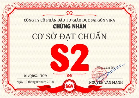 SGV, SGV long binh tan duoc chung nhan chuan S2