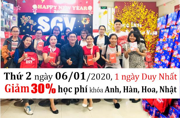 Mừng xuân 2020, Sài Gòn Vina giảm 30% đến 40% học phí