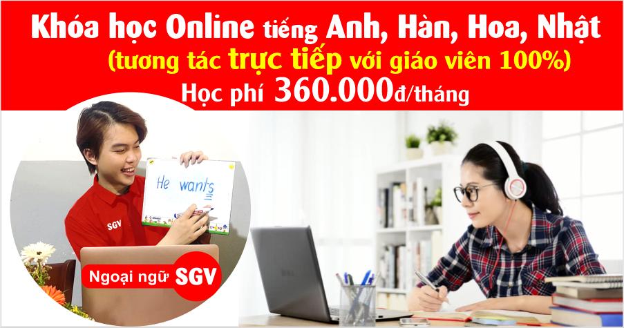 Khoá học trực tuyến tại ngoại ngữ SGV