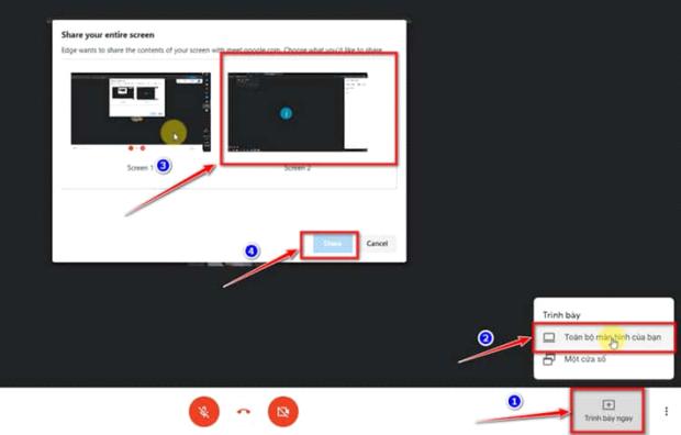 Chia sẻ màn hình cho lớp học